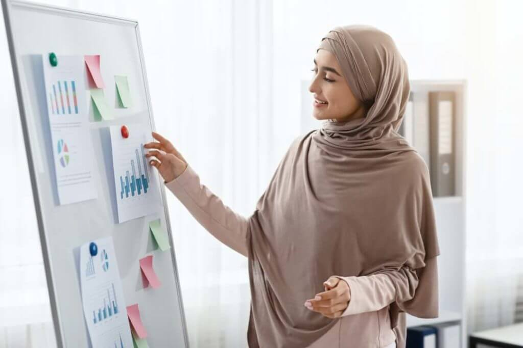 Happy Arabic Businesswoman Looking At Graphs And Charts On Office Board